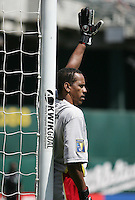 Marius Fausta lines up by the goal post. Guadeloupe defeated Panama 2-1 during the First Round of the 2009 CONCACAF Gold Cup at Oakland Coliseum in Oakland, California on July 4, 2009.
