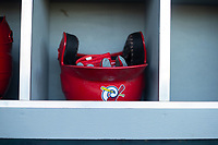 Springfield Cardinals gear sits in the dugout on May 16, 2019, at Arvest Ballpark in Springdale, Arkansas. (Jason Ivester/Four Seam Images)