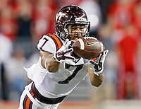 Virginia Tech Hokies tight end Bucky Hodges (7) tries to come up with a catch against Ohio State Buckeyes during the 1st quarter of their game in Ohio Stadium on September 6, 2014.  (Dispatch photo by Kyle Robertson)