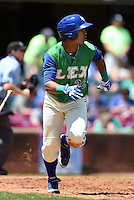 Lexington Legends outfielder Alfredo Escalera-Maldonado (26) runs to first during a game against the Hagerstown Suns on May 19, 2014 at Whitaker Bank Ballpark in Lexington, Kentucky.  Lexington defeated Hagerstown 10-8.  (Mike Janes/Four Seam Images)