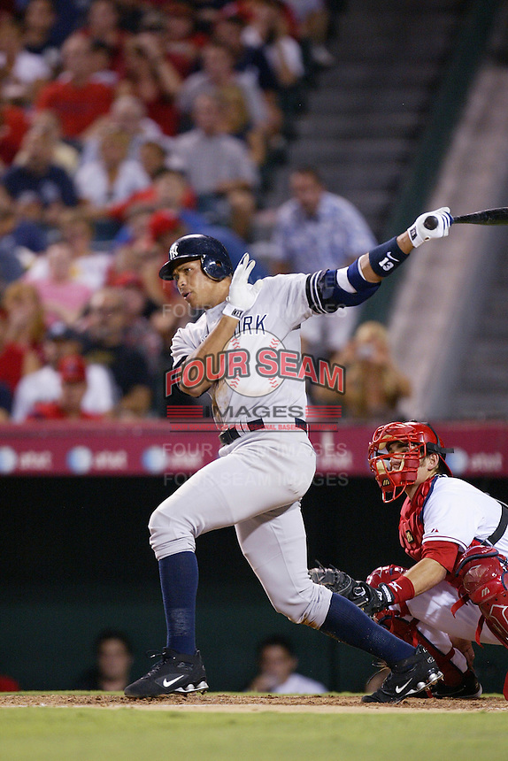 Alex Rodriguez of the New York Yankees during a 2007 MLB season game against the Los Angeles Angels at Angel Stadium in Anaheim, California. (Larry Goren/Four Seam Images)