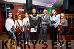 The winners of Radio Kerry's Four Corners of Kerry Grand Final were Celtic Vibe held in Scotts Hotel Killarney on Friday night last, pictured here l-r; Kelsey McCarthy, Caoimhe O'Shea, Natalie O'Connor, Chris May(Wild Wave Recording Studio, Dingle), Brendan Fuller(Radio Kerry), Sarah Landers & Clíodhna Guiney.