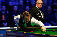 29th February 2020; Waterfront, Southport, Merseyside, England; World Snooker Championship, Coral Players Championship; Shaun Murphy (ENG) at the table during tonight's semi final match versus Yan Bingtao (CHN) as match referee Leo Scullion (SCO) looks on