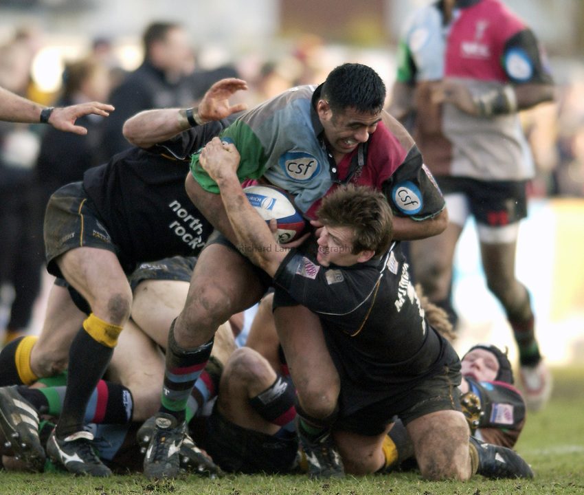 .Photo. Jed Wee.Newcastle Falcons v Harlequins, Zurich Premiership, Kingston Park, Newcastle. 01/02/2003..Harlequins' Viliame Satala (L) with Newcastle's Andrew Mower.