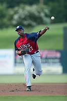Hagerstown Suns starting pitcher McKenzie Mills (27) in action against the Kannapolis Intimidators at Kannapolis Intimidators Stadium on July 10, 2017 in Kannapolis, North Carolina.  The Suns defeated the Intimidators 8-5.  (Brian Westerholt/Four Seam Images)