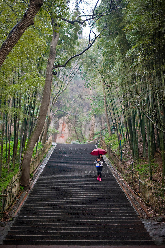 Hangzhou,Cina, 5 Marzo, 2015. Una ragazza cammina in un parco della citt&agrave;.<br /> A girl walking in a garden close to the West Lake