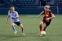 Rochester, NY - Saturday May 21, 2016: Western New York Flash defender Alanna Kennedy (8) and Sky Blue FC midfielder Kelly Conheeney (24). The Western New York Flash defeated Sky Blue FC 5-2 during a regular season National Women's Soccer League (NWSL) match at Sahlen's Stadium.