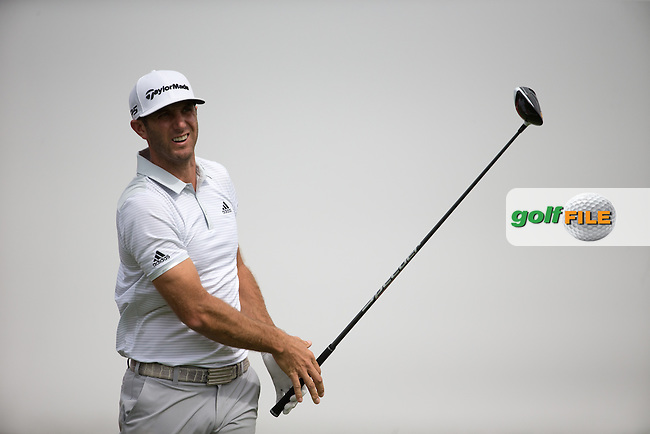 Dustin Johnson (USA) on the 3rd tee during the final round of the Abu Dhabi HSBC Championship, Abu Dhabi Golf Club, Abu Dhabi,  United Arab Emirates. 22/01/2017<br /> Picture: Golffile   Fran Caffrey<br /> <br /> <br /> All photo usage must carry mandatory copyright credit (&copy; Golffile   Fran Caffrey)
