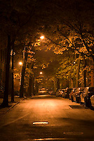 THIS IMAGE IS AVAILABLE EXCLUSIVELY FROM CORBIS.....Please search for image # 42-19639118 on www.corbis.com.....Mysterious City Street Scene at Night, with parked cars....Brooklyn Heights, Brooklyn, New York City, New York State, USA