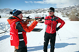 USA, Utah, Midway, Soldier Hollow, learning how to biathlon, sighting in the target