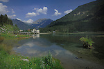 Pump house on the lake against the background of the pryenees mountains.Ainsa district,Huesca, Aragon. Spain