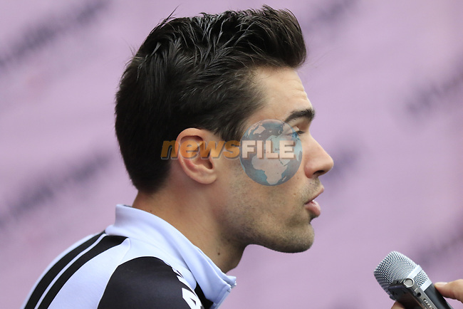 Tom Dumoulin (NED) Team Sunweb at sign on before the start of the 2017 Strade Bianche running 175km from Siena to Siena, Tuscany, Italy 4th March 2017.<br /> Picture: Eoin Clarke | Newsfile<br /> <br /> <br /> All photos usage must carry mandatory copyright credit (&copy; Newsfile | Eoin Clarke)