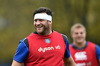Nathan Catt of Bath Rugby is all smiles. Bath Rugby Captain's Run on October 30, 2015 at the Recreation Ground in Bath, England. Photo by: Patrick Khachfe / Onside Images