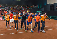 The Hague, The Netherlands, September 17, 2017,  Sportcampus , Davis Cup Netherlands - Chech Republic, Fifth match : Dutch team celebrating<br /> Photo: Tennisimages/Henk Koster