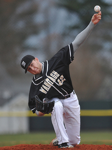 Patrick Willix #42 of Wantagh pitches a scoreless frame in relief during the bottom of the sixth inning of a Nassau County varsity baseball game against host Bethpage High School on Monday, April 3, 2017. He allowed no runs over three innings as Wantagh won by a score of 12-3.
