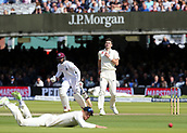 9th September 2017, Lords Cricket Ground, London, England; International test match series, third test, Day 3; England versus West Indies; England Bowler James Anderson watches on as Dawid Malan of England fails to stop an edge