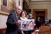 Roma, 3 Aprile 2017<br /> Claudio e Paola Regeni, genitori di Giulio mostrano la foto di un murales  a Berlino raffigurante il figlio.<br /> Conferenza stampa al Senato della famiglia di Giulio Regeni, il giovane ricercatore scomparso e trovato morto con evidenti segni di torture in Egitto a febbraio del 2016