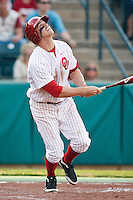 Max White (7) watches the ball after hitting during the NCAA matchup between the University of Arkansas-Little Rock Trojans and the University of Oklahoma Sooners at L. Dale Mitchell Park in Norman, Oklahoma; March 11th, 2011.  Oklahoma won 11-3.  Photo by William Purnell/Four Seam Images