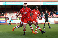 Ollie Palmer of Crawley Town celebrates his first goal in the first half during Crawley Town vs Grimsby Town, Sky Bet EFL League 2 Football at Broadfield Stadium on 9th March 2019