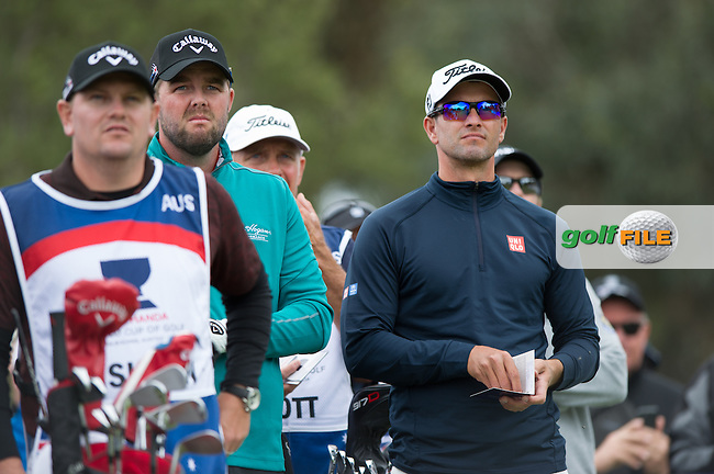 Adam Scott (AUS), Mark Leishman (AUS) during the ISPS Handa World Cup of Golf, from Kingston heath Golf Club, Melbourne Australia. 24/11/2016<br /> Picture: Golffile | Anthony Powter<br /> <br /> <br /> All photo usage must carry mandatory copyright credit (&copy; Golffile | Anthony Powter)