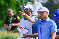Jordan Spieth (USA) and his caddie, Michael Greller look over the tee shot on 12 during Thursday's round 1 of the 117th U.S. Open, at Erin Hills, Erin, Wisconsin. 6/15/2017.<br /> Picture: Golffile | Ken Murray<br /> <br /> <br /> All photo usage must carry mandatory copyright credit (&copy; Golffile | Ken Murray)