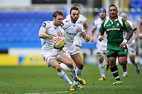 Will Chudley of Exeter Chiefs looks to pass the ball. Aviva Premiership match, between London Irish and Exeter Chiefs on February 21, 2016 at the Madejski Stadium in Reading, England. Photo by: Patrick Khachfe / JMP