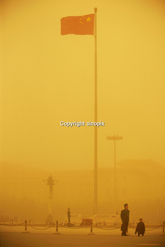 Tiananmen square during a sand storm. When dust storms strike the capital, they turn the sky an amber color and reduce visibility to about 1/3 mile. Extensive deforestation and desertification in northern China have fueled the dust storms. Nearly one million tons of Gobi Desert sand blows into Beijing each year.