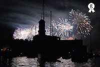 Fireworks over Marseille's Vieux-Port on July 14th, Bastille Day (Licence this image exclusively with Getty: http://www.gettyimages.com/detail/sb10065474ab-001 )