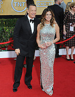 Tom Hanks &amp; Rita Wilson at the 20th Annual Screen Actors Guild Awards at the Shrine Auditorium.<br /> January 18, 2014  Los Angeles, CA<br /> Picture: Paul Smith / Featureflash