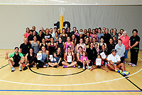 The Minister of Sport, Grant Robertson (centre back) and P.I.C coach Waimarama Taumaunu, with the P.I.C netball club. Value Of Sport Launch at ASB Sports Centre in Wellington, New Zealand on Saturday, 17 March 2018. Photo: Dave Lintott / lintottphoto.co.nz
