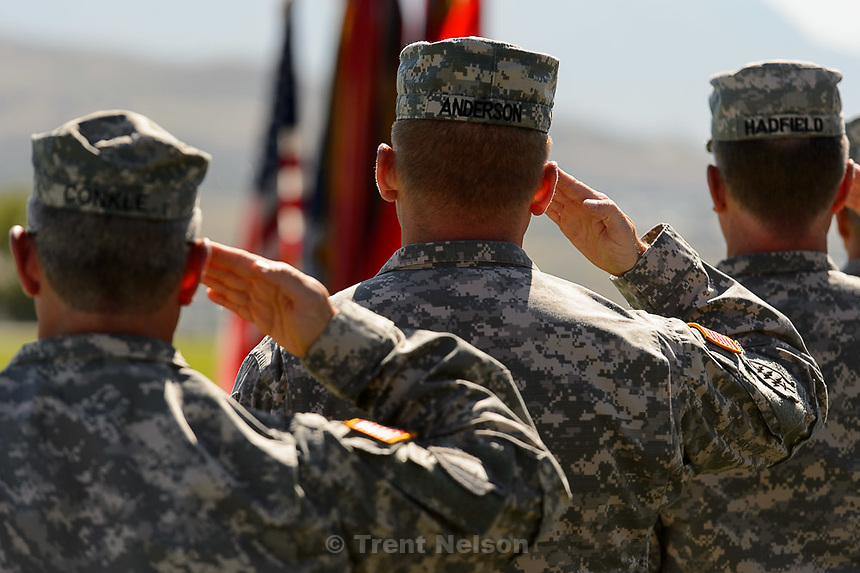 Trent Nelson  |  The Salt Lake Tribune<br /> Fifty-three Utah Guardmembers are realigned to the 101st Airborne Division (Air Assault) in an &quot;Old Abe&quot; patch ceremony at Camp Williams in Bluffdale, Friday June 19, 2015.