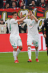 17.03.2019, BayArena, Leverkusen, GER, 1. FBL, Bayer 04 Leverkusen vs. SV Werder Bremen,<br />  <br /> DFL regulations prohibit any use of photographs as image sequences and/or quasi-video<br /> <br /> im Bild / picture shows: <br /> Torjubel / Jubel / Jubellauf,   Max Kruse (Werder Bremen #10),  mit Marco Friedl (Werder Bremen #32),   1:0 fuer Bremen<br /> <br /> Foto © nordphoto / Meuter