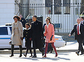United States President Barack Obama, first lady Michelle Obama, and daughters Malia and Sasha walk from the White House across Lafayette Park to St. John's Church for Sunday services, December 11, 2011, Washington, DC.   .Credit: Mike Theiler / Pool via CNP
