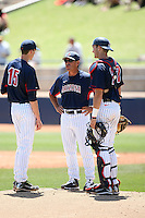 Andy Lopez, Head Coach - Arizona Wildcats vs UCLA Bruins at Sancet Stadium, Tucson, AZ - 04/25/2010. Lopez visits the mound to talk with pitcher Daniel Workman (L) and catcher Jett Bandy (R).Photo by:  Bill Mitchell/Four Seam Images.