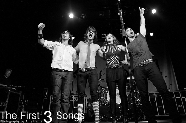Joe Hottinger, Arejay Hale, Lzzy Hale and Josh Smith of Halestorm perform at Bogarts in Cincinnati, Ohio.