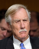 """United States Senator Angus King (Independent of Maine) listens to the testimony during the US Senate Select Committee on Intelligence as it conducts an open hearing titled """"Disinformation: A Primer in Russian Active Measures and Influence Campaigns"""" on Capitol Hill in Washington, DC on Thursday, March 30, 2017. Photo Credit: Ron Sachs/CNP/AdMedia"""