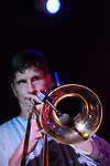 Kaohsiung, Taiwan -- Andy Francis of LA CUMBIA DEL SOL on trombone.