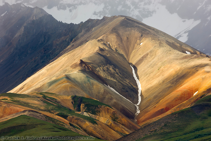 Morning light on the hills of Polychrome, Denali National Park, Interior, Alaska.