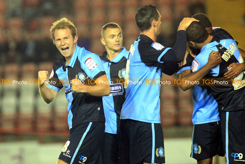Wycombe's Stuart Lewis shows his delight after Dean Morgan's goal - Exeter City vs Wycombe Wanderers - NPower League Two Football at St James Park, Exeter - 18/09/12 - MANDATORY CREDIT: Paul Dennis/TGSPHOTO - Self billing applies where appropriate - 0845 094 6026 - contact@tgsphoto.co.uk - NO UNPAID USE.