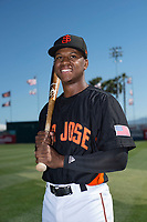 San Jose Giants second baseman Jalen Miller (2) poses for a photo before a California League game against the Lancaster JetHawks at San Jose Municipal Stadium on May 12, 2018 in San Jose, California. Lancaster defeated San Jose 7-6. (Zachary Lucy/Four Seam Images)