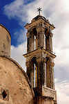 Bell tower of ancient orthodox church Timios Stavros in Parekklisia, Cyprus