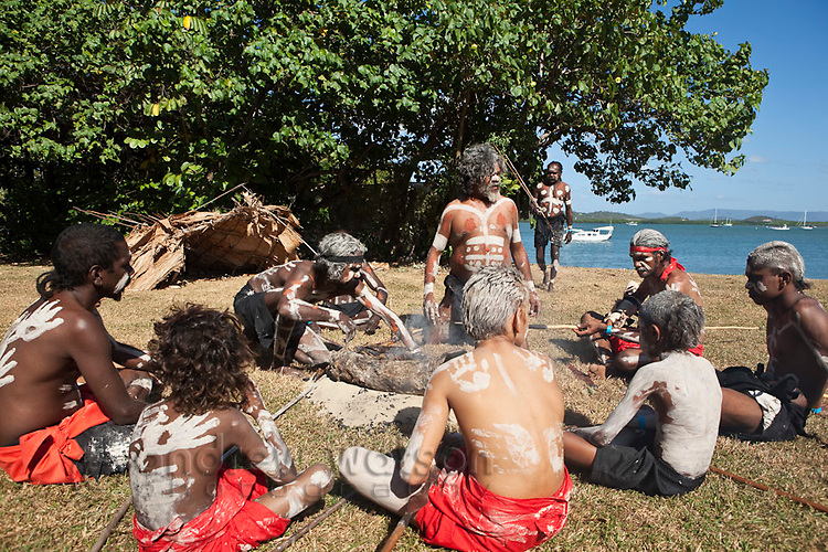 Guugu Yimithirr indigenous tribe during re-enactment of Captain Cook's landing - part of the annual Cooktown Discovery Festival.  Cooktown, Queensland, Australia