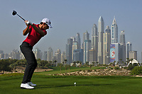 Joakim Lagergren (SWE) on the 8th tee during Round 2 of the Omega Dubai Desert Classic, Emirates Golf Club, Dubai,  United Arab Emirates. 25/01/2019<br /> Picture: Golffile | Thos Caffrey<br /> <br /> <br /> All photo usage must carry mandatory copyright credit (© Golffile | Thos Caffrey)