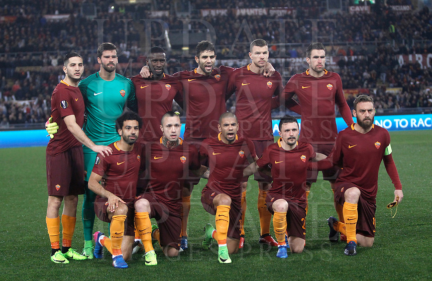 Football Soccer: Europa League Round of 16 second leg, Roma-Lyon, stadio Olimpico, Roma, Italy, March 16,  2017. <br /> Roma's team before the starting of the Europe League football soccer match between Roma and Lyon at the Olympique stadium, March 16,  2017. <br /> From top left: Kostas Manolas, Alisson Becker, Antonio Rudiger, Federico Fazio, Edin Dzeko, Kevin Strootman, Mohamed Salah, Radje Mainggolan, Bruno Peres, Mario Rui, Daniele De Rossi.<br /> Despite losing 2-1, Lyon reach the quarter finals for 5-4 aggregate win.<br /> UPDATE IMAGES PRESS/Isabella Bonotto