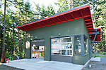 Contemporary artist's studio tucked into the woods. This image is available through an alternate architectural stock image agency, Collinstock located here: http://www.collinstock.com