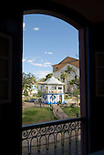 Goias Velho, Brazil. Well preserved colonial town; old bandstand seen through a window.