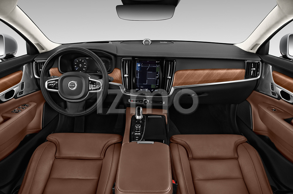 Stock photo of straight dashboard view of a 2019 Volvo S90 Inscription PHEV T8 AWD 4 Door Sedan