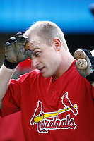 David Eckstein of the St. Louis Cardinals during batting practice before a game from the 2007 season at Dodger Stadium in Los Angeles, California. (Larry Goren/Four Seam Images)