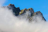 Norway, Lofoten. Mountain peaks close to Nusfjord.