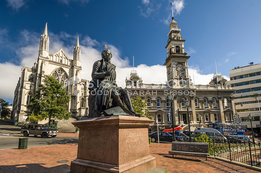 St Pauls Cathedral, Robbie Burns Statue and Municipal Chambers in the Octagon make up part of the historic architecture of Dunedin City, New Zealand - stock photo, canvas, fine art print